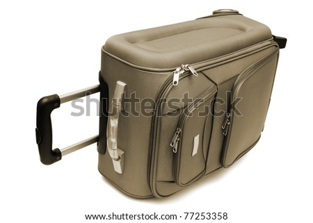 modern large suitcase on a white background