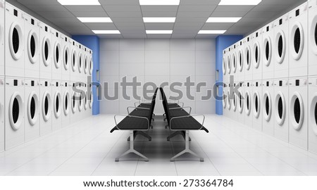Modern Laundry 3D Interior with Washing Machines and Seats. 3D Rendering - stock photo