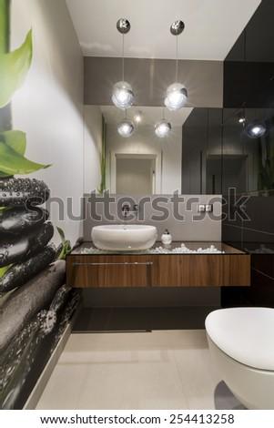 Modern lavatory interior design - stock photo