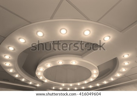 Modern Layered Ceiling Embedded Lights Stretched Stock Photo