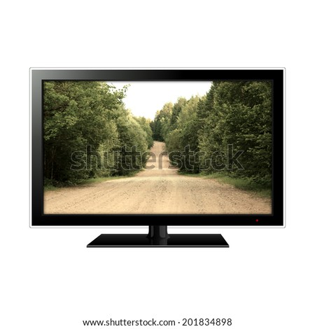 modern LCD monitor isolated on white with dirt road in the screen - stock photo