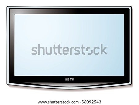 Modern LCD television technology concept with white blank screen - stock photo