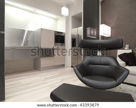 modern leather black armchair
