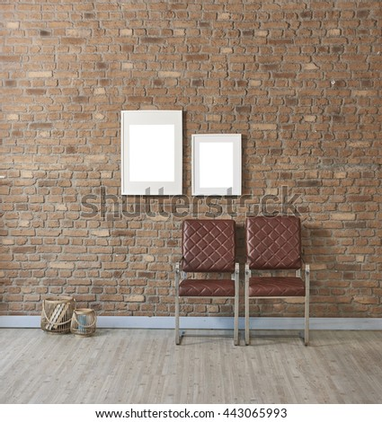 modern leather two chair natural brick wall and white two frame with basket
