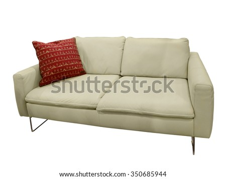 Modern leather white sofa, isolated on white background. - stock photo