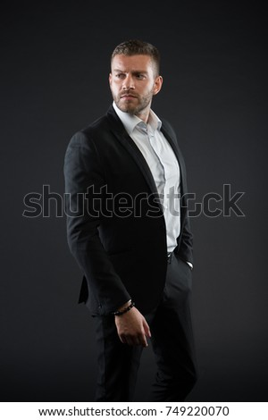 Modern life and agile business. Manager with beard on confident face. Businessman or ceo fashion. Business and success. Man in formal outfit on black background.