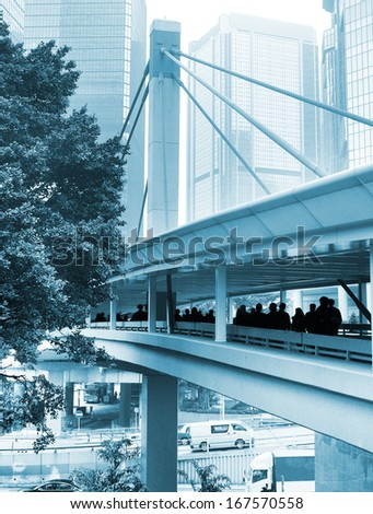 Modern life in Hong Kong downtown in the day - stock photo