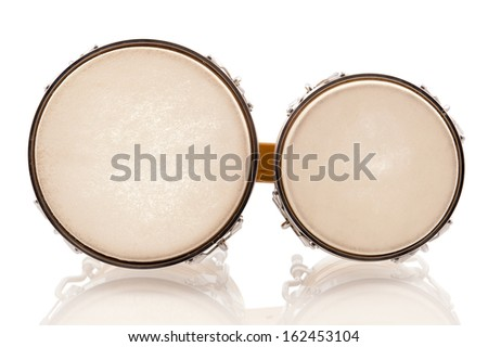 Modern light brown bongo set photographed from above isolated in white - stock photo