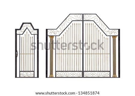Modern  light  forged  decorative gates and wicket.  Isolated over white background. - stock photo