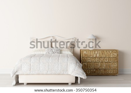 Modern light interior in the style of Provence 3D render - stock photo