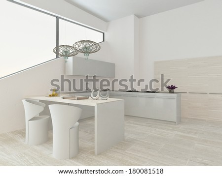 Modern light kitchen interior with stone floor