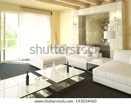 Modern light living room interior with floor to ceiling window - stock photo