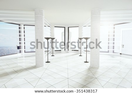Modern light loft empty office with windows in floor in white colors 3D Render