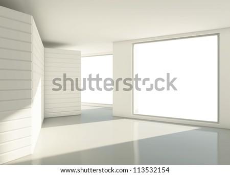 modern  light white room with window - stock photo