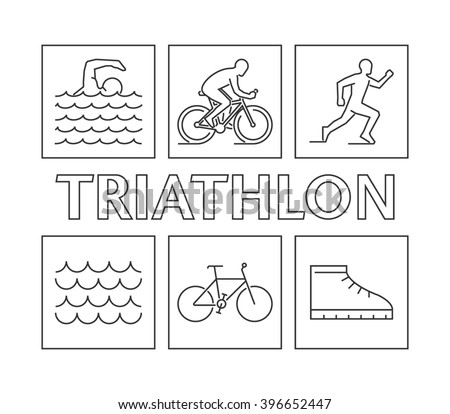 Modern line logo triathlon. Figures triathletes on a white background. Linear figure triathlon athletes. Swimming, cycling and running icons.