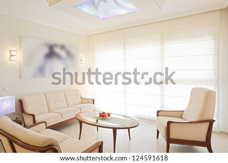 Modern living and dining room - stock photo