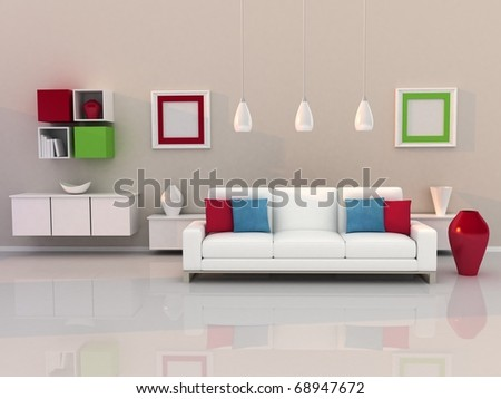 modern, living room - stock photo