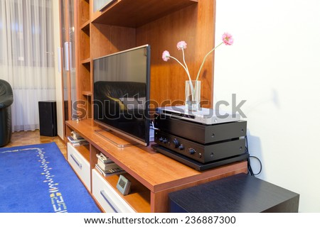 Modern living room -  ambient light, enhanced colors - stock photo