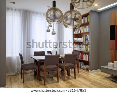 Modern living room and kitchen interior design in gray colors. 3d rendering