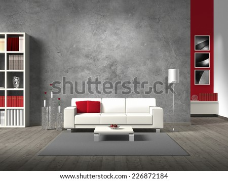 modern living room 3D rendering with white sofa and copy space for your own image/photos on the concrete wall behind the sofa - stock photo
