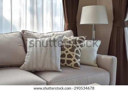 modern living room design with sofa and lamp - stock photo