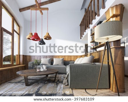 Modern Living Room In A Loft Style With Corner Sofa And Wall