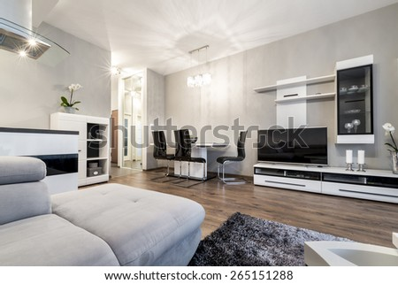 Modern living room in black and white style with open kitchen area - stock photo