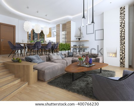 Modern living-room in loft style, blending smoothly into the kitchen dining room. Large corner sofa, shelves with decorations, soft chair with floor lamp and a big high fireplace. 3D render