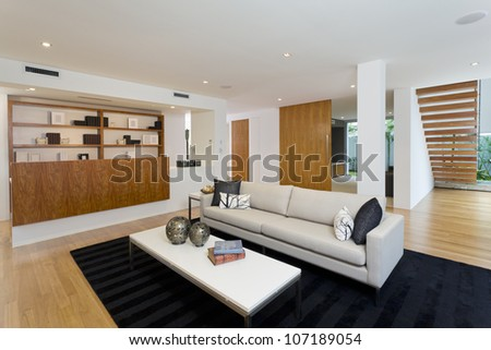Modern living room in new home - stock photo