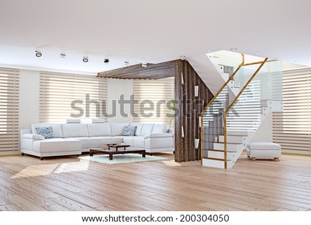 Modern living room interior. Contemporary design concept  - stock photo