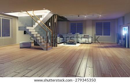 Modern living room interior. Contemporary design concept - stock photo