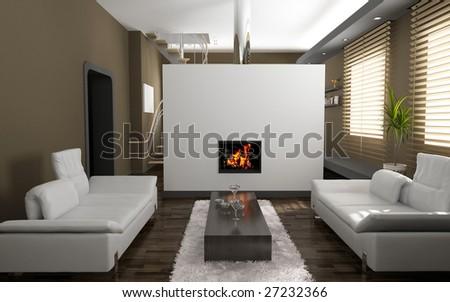 modern living room interior  (3D rendering) - stock photo