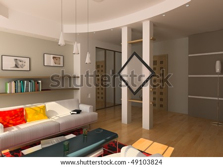 modern living room interior (3D rendering) - stock photo