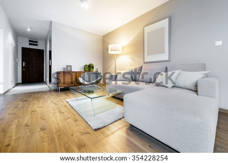 Modern living room interior design apartment - stock photo