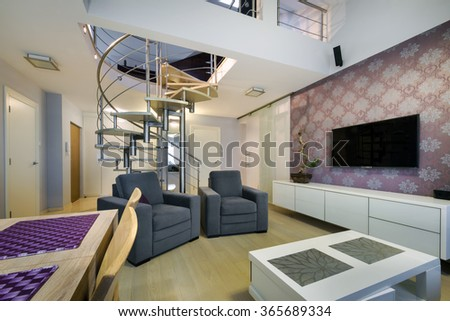 Modern living room interior design apartment with staircases