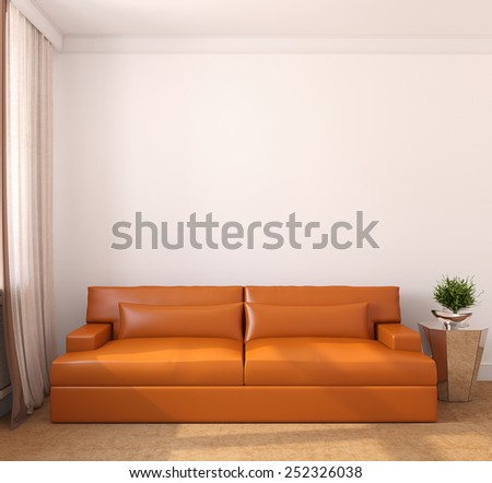 Modern living-room interior. Frontal view. 3d render. - stock photo