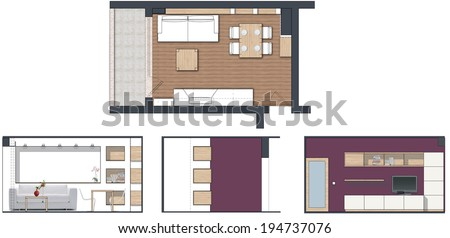 Charmant Modern Living Room Interior Project   With Plan Drawing And Side Elevations