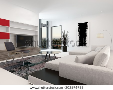 Modern living room interior with a large television set in wall-mounted cabinets, a large upholstered sofa and small corner windows in white decor with red accents - stock photo