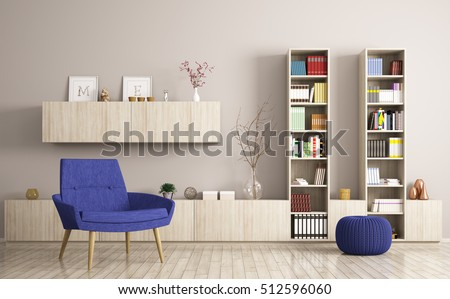 Modern living room interior with armchair and wooden bookshelves 3d rendering
