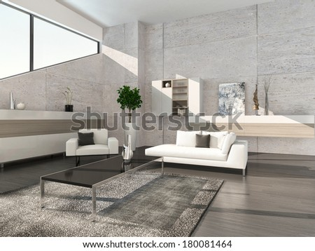 Modern living room interior with cabinet and stone wall - stock photo