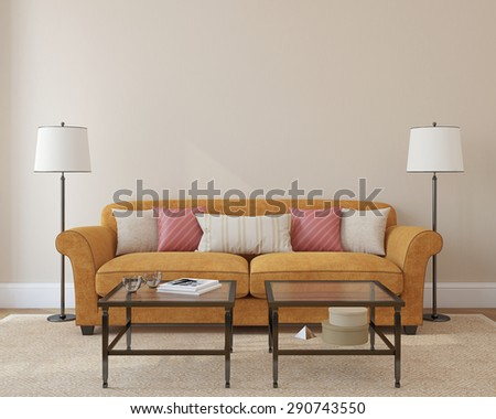 Modern living-room interior with orange couch near empty beige wall. 3d render. Photo on book cover was made by me. - stock photo