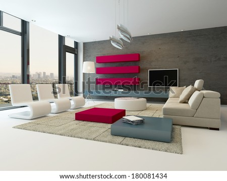 Modern living room interior with stone wall and red cupboard - stock photo