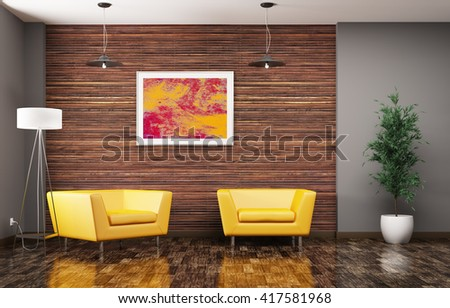 Modern living room interior with two yellow armchairs floor lamp and plant 3d rendering - stock photo