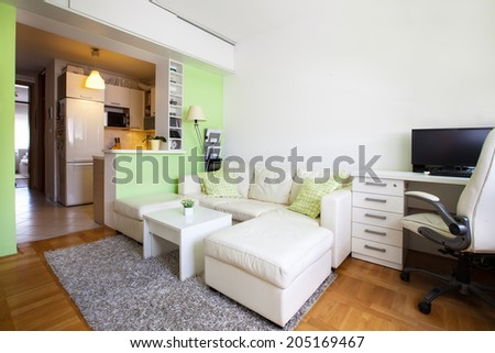 Modern living room interior with white and green walls