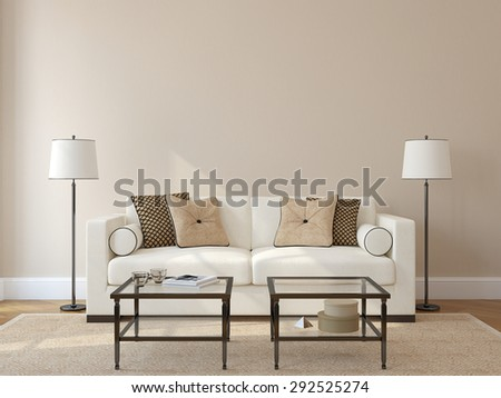 Modern living-room interior with white couch near empty beige wall. 3d render. Photo on book cover was made by me. - stock photo