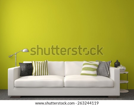 Modern Livingroom Interior White Couch Near Stock Illustration ...
