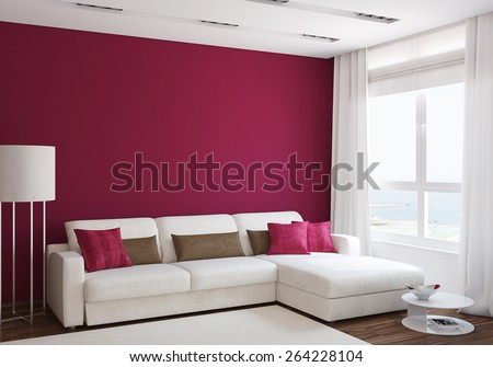 Modern living-room interior with white couch near empty red wall. 3d render. - stock photo