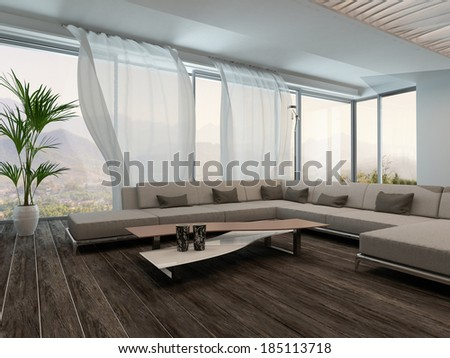Modern Living Room Interior with white curtains - stock photo