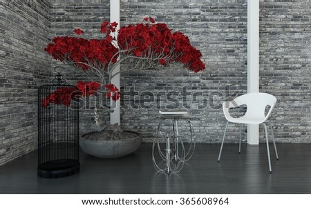 Modern living room or waiting room interior with a texture grey brick wall, red potted plant, bird cage, tables and modular chair, arranged in a corner. 3d Rendering. - stock photo