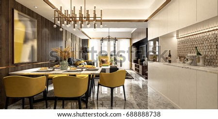 Modern living room - Perspective - Black & Yellow - Dinning set with white pantries / 3d render